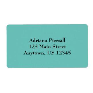 Aqua Blue Simple Plain Shipping Labels