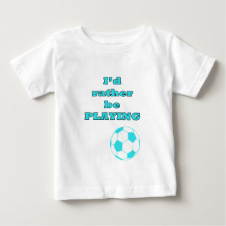 Aqua Blue Soccer / Football Illustration and Quote Baby T-Shirt