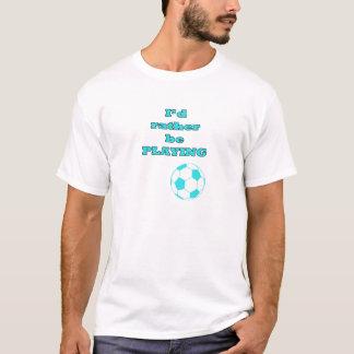 Aqua Blue Soccer / Football Illustration and Quote T-Shirt