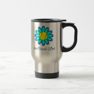 Aqua Blue Softball Girl Travel Mug
