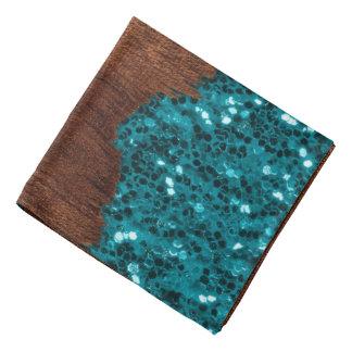Aqua blue sparkles broken rustic brown wood bandana