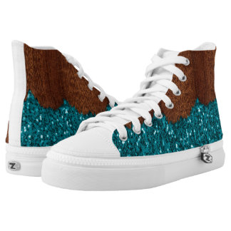 Aqua blue sparkles broken rustic brown wood high tops