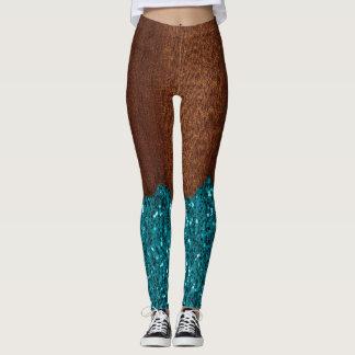 Aqua blue sparkles broken rustic brown wood leggings