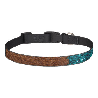 Aqua blue sparkles broken rustic brown wood pet collar