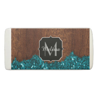 Aqua blue sparkles rustic brown wood Monogram Eraser