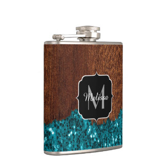 Aqua blue sparkles rustic brown wood Monogram Hip Flask