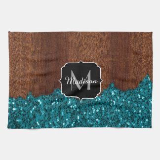 Aqua blue sparkles rustic brown wood Monogram Kitchen Towel