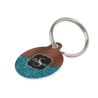 Aqua blue sparkles rustic brown wood Monogram Pet Name Tag