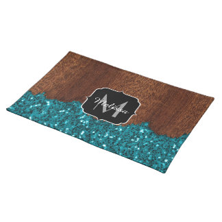 Aqua blue sparkles rustic brown wood Monogram Placemat