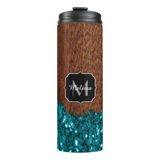 Aqua blue sparkles rustic brown wood Monogram Thermal Tumbler