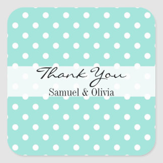 Aqua Blue Square Custom Polka Dotted Thank You Square Sticker