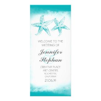 aqua blue starfish couple beach wedding programs rack card design