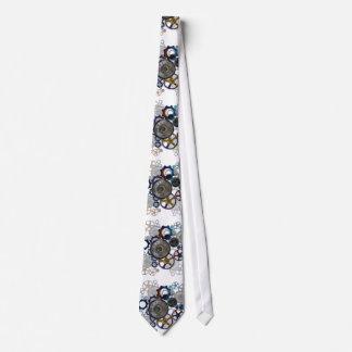 Aqua, Blue steampunk print tie, gears, cogs, clock Tie