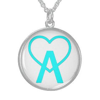 Aqua Blue Sterling A~Heart Necklace