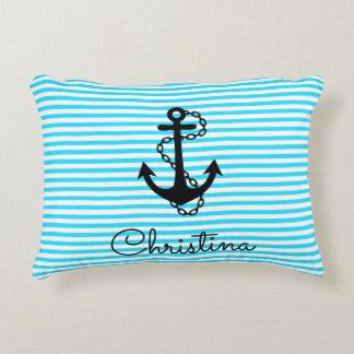 Aqua Blue Striped Anchor Name Pillow