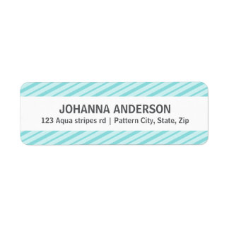 Aqua blue stripes chic stylish return address label