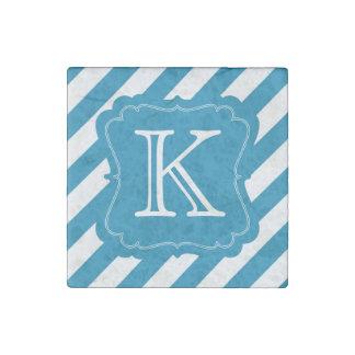 Aqua Blue Stripes Monogram Stone Magnets