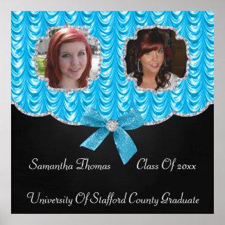 Aqua Blue Swag Bling 2 Photos Graduation Posters
