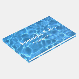 Aqua Blue Swimming Pool Photo Personalized Wedding Guest Book