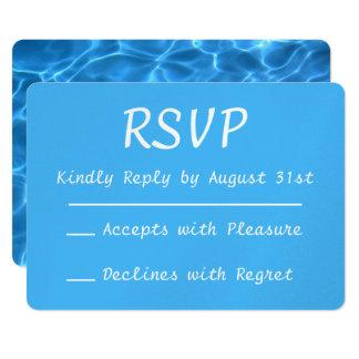 Aqua Blue Swimming Pool Photo RSVP Card