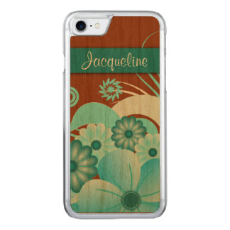 Aqua Blue Teal Floral Hibiscus Carved® Wooden Carved iPhone 8/7 Case