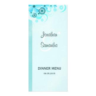 Aqua Blue Teal Floral Wedding Dinner Menu Card Rack Cards