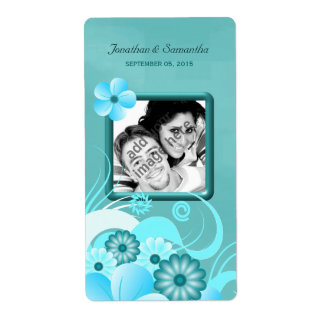 Aqua Blue Teal Floral Wedding Photo Favor Wine
