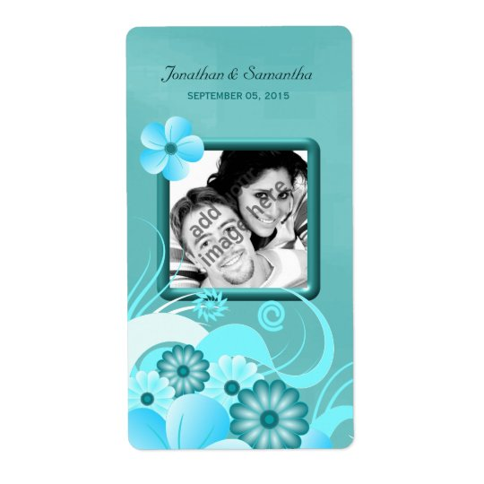 Aqua Blue Teal Floral Wedding Photo Favour Wine