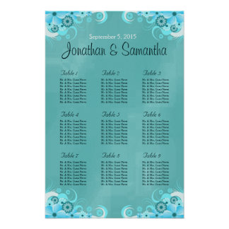 Aqua Blue Teal Floral Wedding Table Seating Charts Poster