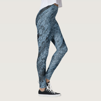 Aqua blue textured leggings