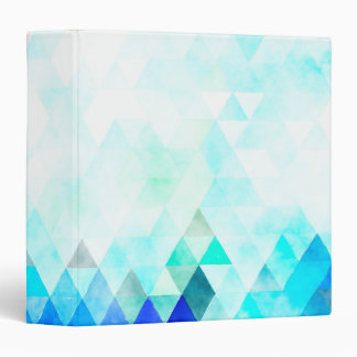 Aqua Blue Triangles Watercolor Binders