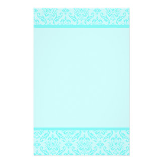 Aqua Blue Turquoise Damask Stationery