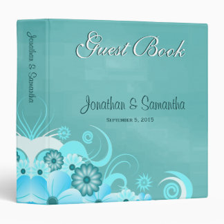 "Aqua Blue Turquoise Floral 1.5"" Wedding Guest Book Binders"