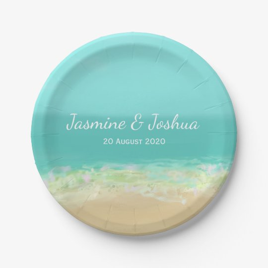 Aqua blue water/painted beach seashore 7 inch paper plate