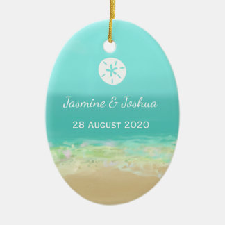 Aqua blue water/painted beach seashore personalize ceramic oval ornament