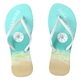 Aqua blue water/painted beach seashore personalize flip flops