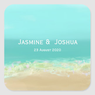 Aqua blue water/painted beach seashore personalize square sticker