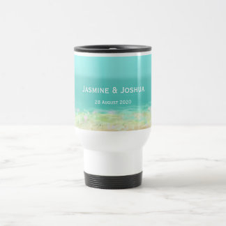 Aqua blue water/painted beach seashore personalize travel mug