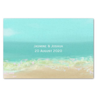 Aqua blue water/painted beach seashore tissue paper
