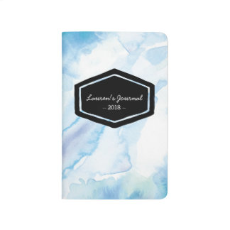 Aqua blue watercolor personalized journal notebook