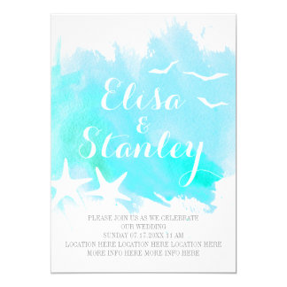 Aqua blue watercolor, starfish beach wedding card