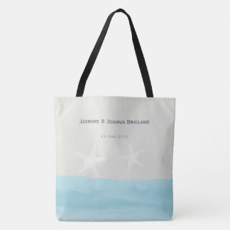 Aqua blue watercolor starfish  beach wedding tote bag