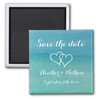 Aqua blue watercolor wedding save the date magnets