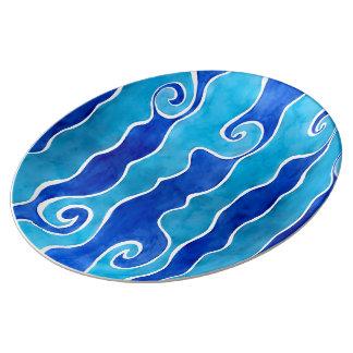 Aqua Blue Waves Plate