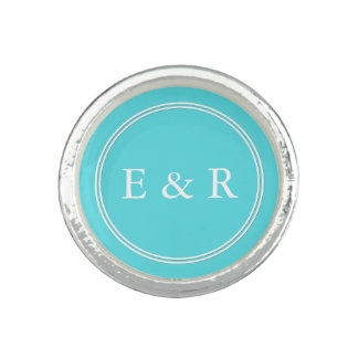 Aqua Blue Wedding Photo Rings