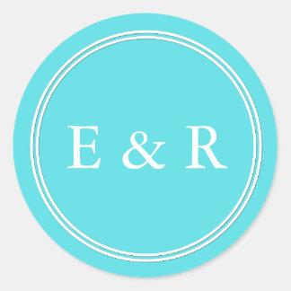 Aqua Blue Wedding Round Sticker