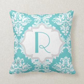 Aqua blue, white damask pattern throw throw pillow
