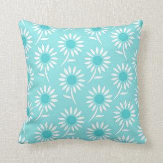 Aqua Blue White Floral Decorative Pillow