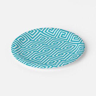 Aqua Blue White Greek Key Pattern Paper Plate