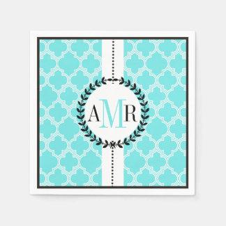 Aqua blue, white quatrefoil pattern wedding paper napkin